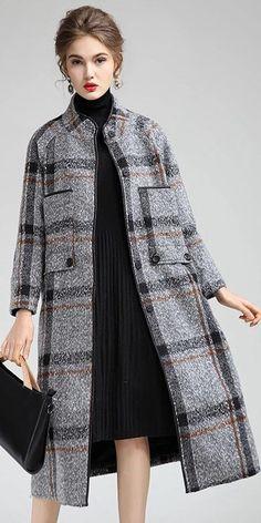 Women Elegant Plaid Loose Long Woolen Coat Casual Outfits Y760