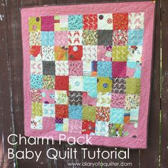 Charm Packs are an easy way to make a simple baby quilt with a large variety of different but coordinated fabrics. To make a 42″ x 42″ baby quilt you will need 64 5″ squares – usually 2 Charm Packs is perfect. (Moda Charm Packs have 42 squares in them,other companies vary. Check the back …