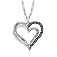 1/5 ct. tw. Green Diamond Heart Pendant in Sterling Silver, available at #HelzbergDiamonds