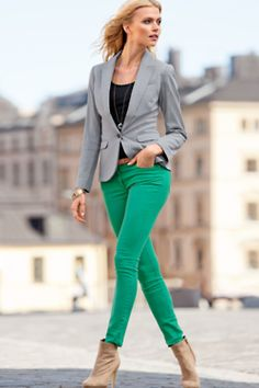 green pants, grey blazer
