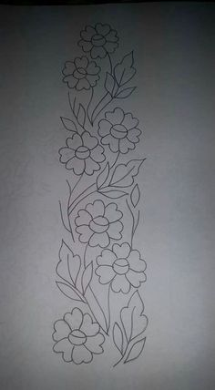 Border Embroidery Designs, Embroidery Suits Design, Hand Embroidery Patterns, Floral Embroidery, Embroidery Stitches, Machine Embroidery, Fabric Paint Designs, Stencil Designs, Tambour Embroidery