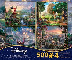 THOMAS KINKADE FANTASIA LADY & THE TRAMP WINNIE THE POOH TANGLED DISNEY DREAMS COLLECTION 4 IN 1 JIGSAW PUZZLE SET 500 pieces CEACO http://www.amazon.com/dp/B00S5WP84S/ref=cm_sw_r_pi_dp_ytCmvb1Q4JQWK