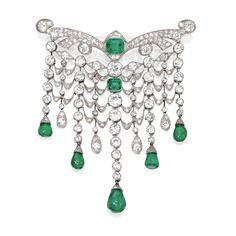 Platinum, Emerald and Diamond Devant de Corsage, France, Circa 1925
