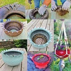 It is a great way to repurpose old tires and use them as flower planters. So if you have old tires lying in your home that they no longer use, you could try to Tire Planters, Diy Hanging Planter, Flower Planters, Flower Pots, Diy Flower, Planter Ideas, Flowers, Hanging Pots, Flower Basket