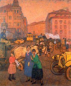 Calle de la estación. El Arenal. 1920. Óleo sobre cartón. 86 x 74 cm. Colección particular. Vizcaya. Obra de Aurelio Arteta