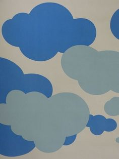 Vintage Wallpaper Clouds 60s 70s Retro Pop Cartoon 1m