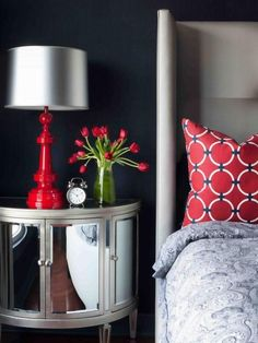 Gray bedroom with red accents love the #Bed Room #bedroom design| http://bed-room-photos.kira.lemoncoin.org
