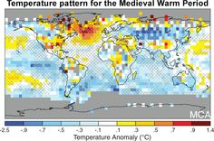 Reconstructed surface temperature anomaly for Medieval Warm Period (950 to 1250 A.D.), relative to the 1961– 1990 reference period.