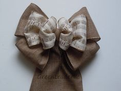 Hey, I found this really awesome Etsy listing at https://www.etsy.com/listing/180101684/burlap-music-themed-wedding-bows-music