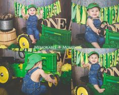 First Birthday John Deere Themed Smash Cake John Deere | Themed | John Deere tractor | tricycle | blue jean overalls | hat | cloth banner | lantern | first birthday | first birthday | smash cake |home studio | backdrop | Memorable Moments Photography | RGV Photographer
