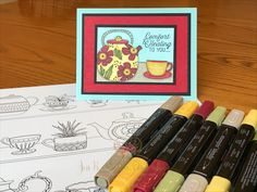 31 Days of DSP Stampin' Up! Just Add Color Teapot Card with Stampin' Blends for GDP 108 by JessBCreativeCardiology