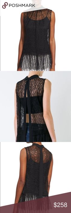 McQ Alexander McQueen lace Blouse Relaxed fit gathered ruffle hem nylon poly blend McQ Alexander McQueen Tops Blouses