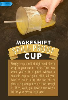 If you're a parent on-the-go, avoid spill disasters with ease.  #SaveMoney #DIYHome #HouseholdTips #Spillproof