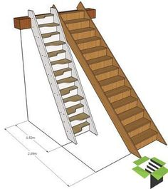normal staircase vs spacesaver stair stairbox - house and flat decorations Tiny House Stairs, Loft Stairs, Attic Stairs Pull Down, Folding Attic Stairs, Garage Stairs, Timber Staircase, Staircase Design, Staircase For Small Spaces, Space Saving Staircase