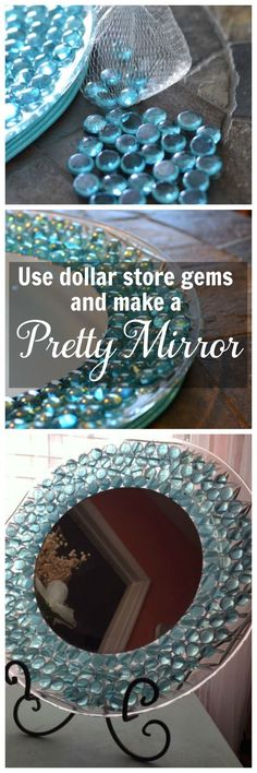 This is an easy dollar store craft. Use items from the dollar store to make a pretty mirror to display on a table or dresser.