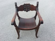 Antique Stomps Burkhardt Co Lion Head Chair With Green Man