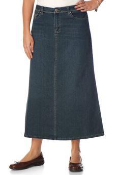 Bling Detail Pieced Denim Skirt - Christopher & Banks