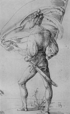 Artist: Baldung Grien, Hans, Title: Fahnenträger, Rückenfigur, Date: 1505