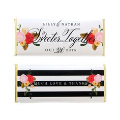 Roses and Stripes Personalized Candy Bar Wrapper from Sweet Paper Shop | Overwraps a Hershey's 1.55 oz Chocolate | Printed on shimmer paper. Foils included.