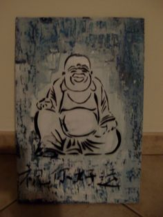 Legno .spray paint stencil art...buddah