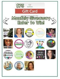 Enter to win one of 2 $75 TpT Gift cards!  http://mommywifeteachercook.blogspot.com/2016/08/giveaways-galore-and-recipes.html