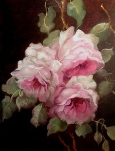 BARNES OIL PAINTING KLEIN PINK ROSES ANTIQUE VINTAGE STYLE SHABBY COTTAGE FRENCH