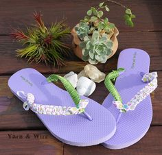 Purple Flip Flop with green and flowers satin ribbon wrapped. Visit us at www.facebook.com/yarnandwire