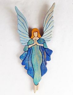 Handcrafted Wooden Intarsia Blue Angel Wall by ronisboutique Blue Angels Planes, Wooden Angel, Angel Drawing, Stained Glass Angel, Ceramic Angels, Intarsia Woodworking, Angel Pictures, Angel Ornaments, Angel Art