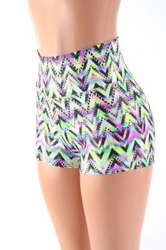 This sparkling neon short is so glamorous and sexy, with a flattering (anti muffin top) high rise and short cheeky leg. Sparkling metallic spray over neon UV glow chevron. Neon Shorts, Boho Shorts, Studded Shorts, Festival Shorts, Festival Looks, Festival Fashion, High Waisted Shorts, Clubwear, Chevron