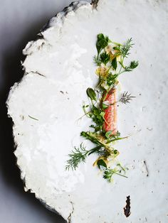 Snapper, artichoke, and tiny greens by Christopher Kostow. Photo Courtesy of Peden Munk | Purely Inspiration