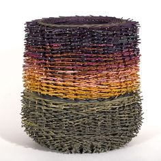 Art basketry by @Kari Lønning >> created from hundreds of pieces of dyed rattan, and absolutely beautiful!