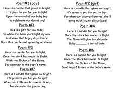 baby shower candle poem.