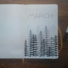 Bullet journal monthly cover page, March cover page, forest drawing. | @hannasamjournal