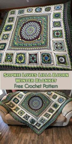 Sophie Loves Lilla Bjorn Winter Blanket [Free Crochet Pattern] - ONLY FREE crocheting patterns for Amigurumi, Toys, Afghans, Baby Blankets, New Stitches and Tutorials and many more! The Sophie Loves Lilla Bjorn Winter Blanket pattern was created by E Crochet Mandala Pattern, Crochet Square Patterns, Crochet Quilt, Crochet Squares, Crochet Granny, Crochet Blanket Patterns, Baby Blanket Crochet, Crochet Baby, Free Crochet