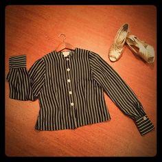 Silk B&W pinstriped button-down blouse Vintage '80s silk top! Perfect condition. Linda Hutton Tops Button Down Shirts