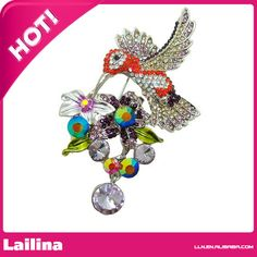 """Find More Brooches Information about 2.95"""" Pretty Wings Hummingbird Flower Cluster Crystal Bird Brooch Pin ( Purple Rhinestone ),High Quality rhinestone nail designs pictures,China rhinestone crown pin Suppliers, Cheap rhinestone for nail art from Lailina Jewelry Co., Ltd on Aliexpress.com"""