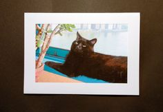 Black Cat Art Notecards Blank Note Cards Cat by DeborahJulian