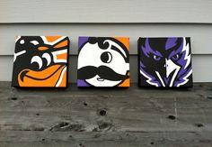 Baltimore Themed Paintings. Baltimore Orioles, Natty Boh & Baltimore Ravens. $45.00, via Etsy.