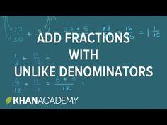 Adding fractions with unlike denominators (video) Teaching Fractions, Math Fractions, Teaching Math, Teaching Ideas, Maths, Math Lesson Plans, Math Lessons, Junior High Math, Homeschool Math