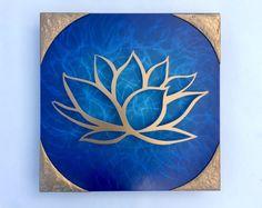 Lotus Flower Ocean Scene - Gold & Blue Metal Wall Art - Lotus Metal Art - Home Decor - Metal Art - Wall Art - Gold - Blue Art