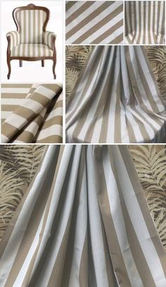 Beige and White Stripe Sunbrella Awning Fabric Cabana Classic Stripe Maxim Heather Beige Water Repellent Indoor Outdoor Wide Stripe .