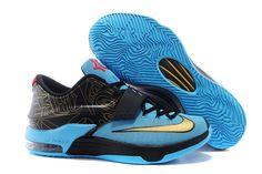 "Nike KD 7 Metallic Gold/Black/Dark Turquoise/University Red Sneakers - ""N7"