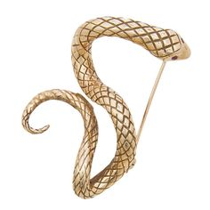 Erwin Pearl Gold Snake Brooch. Circa 1980 18K Yellow Gold Snake Brooch by Erwin Pearl. Nice textured finish and set with Ruby Eyes. 1980s
