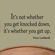 It's Not Whether You Get Knocked Down Wall Quote Decal Football Vince Lombardi  #MiceandMugs #Contemporary