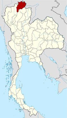 แผนที่ประเทศไทย จังหวัดเชียงรายเน้นสีแดง
