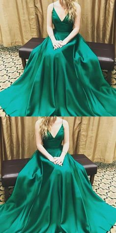 Prom Dresses 2019, V Neck Evening Dress, V-neck Evening Dress, Green Evening Dress, Custom Evening Dress #VNeckEveningDress #CustomEveningDress #VneckEveningDress #PromDresses2019 #GreenEveningDress