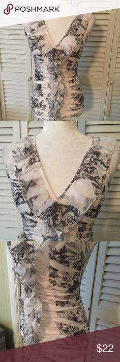 Body Central Ruffled Tunic Size Small What a beauty of a top!  Colors are so soft and simple.  EUC Body Central Tops Tunics