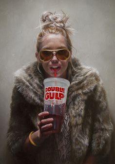 """Double Gulp"" - Rachel Moseley, oil on wood, 2015 {figurative realism art blonde female sunglasses soda fur coat standing woman cropped painting #loveart} rachelmoseleyart.com"
