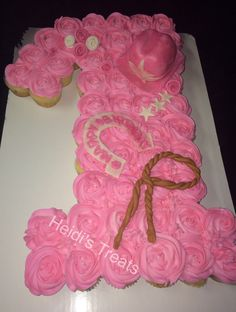 Cupcake pull apart cake first birthday one cowgirl themed with cowgirl hat, horseshoe