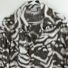 Zenergy by Chico's 2 Women's Stretch Zip Jacket Animal Print Pockets Ruched M L #Chicos #BasicJacket